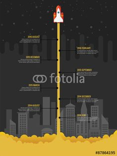 Vecteur : Infographic rocket fly at night with city in the background