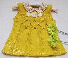 2-3 yaş kız çocuğu için sarı elbise yada tunik - Açıklamalı Şiş İşi Bebek Örgülerimiz