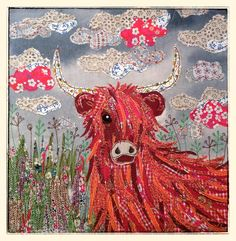 Appliqué Fabric picture of highland cow By lucy levenson