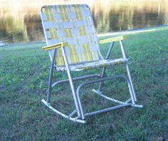 Set Of 3 Matching Mid Century Aluminum Folding Lawn Chairs Rocking Chair, Webbed  Folding Rocker, Retro RV Lawn Furniture Camping Glamping