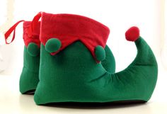 Green and Red Elf Shoes - Costumes Wigs Theater Makeup and Accessories