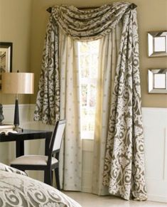 I like how these curtains are done. very regal and formal. prefect for the front rooms, dining room and-or living room Brown Master Bedroom, Master Bedrooms, Living Room Decor, Bedroom Decor, Dining Room, Home Curtains, My Home Design, Curtain Designs, Curtain Ideas