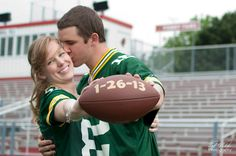 Green Bay Packers Football Engagement Photography in Fond du Lac Wisconsin