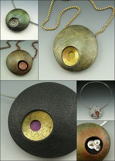 Diy Jewelry : Stonehouse Studio – Betsy Baker -Read More – Polymer Clay Necklace, Polymer Clay Pendant, Polymer Clay Art, Metal Clay Jewelry, Ceramic Jewelry, Polymer Clay Projects, Polymer Clay Creations, Plastic Fou, Diy Fimo