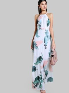 Shop Foliage Print Racer Halter Neck Open Back Maxi Dress online. SheIn offers Foliage Print Racer Halter Neck Open Back Maxi Dress & more to fit your fashionable needs. Casual Day Dresses, Sexy Dresses, Fashion Dresses, Vestidos Halter, Summer Dresses 2017, Open Back Maxi Dress, Iranian Women Fashion, White Dresses For Women, White Dress Summer
