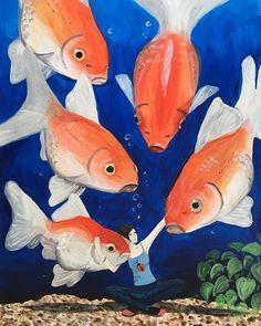 """Horváth Kincső Art az Instagramon: """"Úgy hiányzik az akváriumom...😭🥺😣🐠 #aranyaim #acrylicpainting #goldfish #missmyaquarium #2012 #aquartist #dailypainting #painting #art #blue…"""" Fish, Pets, Painting, Animals, Instagram, Animales, Animaux, Pisces, Painting Art"""