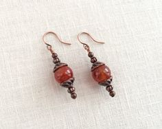 Amber earrings. Agate bead drops copper by JJewelryDesign on Etsy