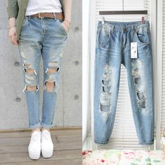 Free shipping 2013 new design big Hole denim jeans women fashion show sexy leg jeans trousers high waist long pants with holes