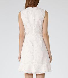 Womens Off White Lace Fit And Flare Dress - Reiss Bee