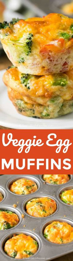 Veggie Egg muffins are the perfect snack food for busy mornings or on-the-go healthy eating! #Eggmuffin #Healthybreakfast #Eggsforbreakfast #Convenientbreakfast