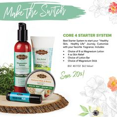 """This is our Starter System if you are NEW to Jordan Essentials Products!  It does so much for you and your family.    Each Core 4 can be customized to include your choice of:  🌿Magnesium Lotion - peppermint or unscented 🌿Magnesium Stick - any one you choose! 🌿Lotion Bar - top scents are Oatmeal and Grapefruit… and our newest scent, PROMISE! 🌿Skin Relief Not only is this bundle a significant savings, but it makes you an instant qualifier for this month's guest special!  🍀Comment """"Core 4""""… Healthy Skin, Healthy Life, Magnesium Benefits, Lotion Bars, Peppermint, Fragrance, Personal Care, Make It Yourself, Grapefruit"""