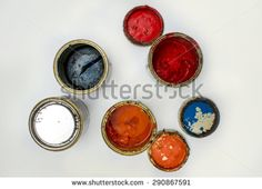 Opened cans of paint