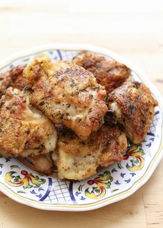 Pan Fried Italian Chicken Thighs, perfectly crisp and juicy with just a tablespoon of oil! recipe by Barefeet In The Kitchen
