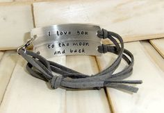 I love you to the moon and back, Couples Bracelet, Couples jewelry, Adjustable leather bracelet on Etsy, $32.00 @Emily Schoenfeld James