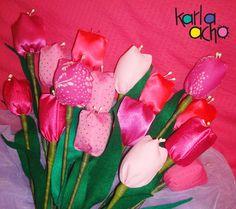 más tulipanes!! rose tulip fabric tela * Chiii