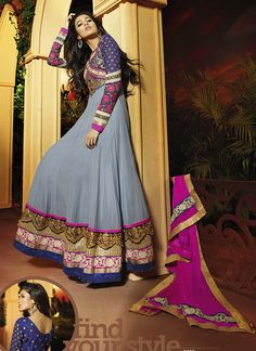 Grey Georgette Embroidered Designer party wear  Suit