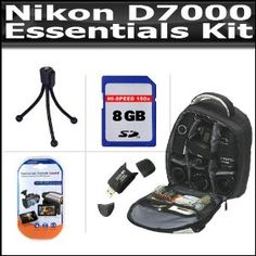 Backpack Essentials Kit For The Nikon D7000 Includes 8GB High Speed SD Memory Card + Deluxe BackPack Case + High Spped 2.0 USB SD Card Reader + LCD Screen Protectors + Mini Tripod + Lens Pen Cleaning Kit (Electronics)