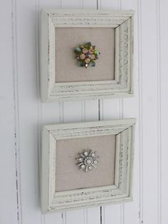 vintage frames.paint them with chalk paint. cover the cardboard backing with a few paper towels. cover both cardboard pieces with tan osnaburg fabric, chalk paint dried,sand with a fine grit sanding sponge.Add jewelry pin them to the center the paper towel/osnaburg covered cardboard piece. Then I popped them back into the frames and hung them on my dressing room wall.