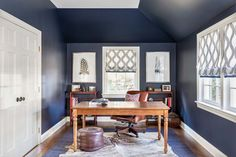 Winthrop Project: Benjamin Moore Mysterious dark blue office with layered rugs and fringe trim window treatments. Home Office Furniture Sets, Home Office Desks, Office Decor, Office Ideas, Blue Office, Small Office, Dark Blue Rug, Interior Design Photography, Office Interiors