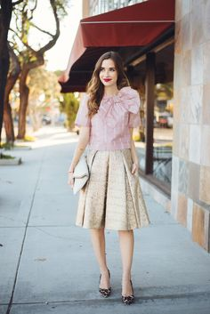 Pink blouse with gold pleated skirt M Loves M @marmar