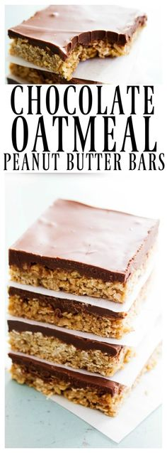 Chocolate Oatmeal Peanut Butter Bars - chewy oatmeal bars with a chocolate peanut butter topping that makes this the best summer sweet treat. Best Dessert Recipes, Easy Desserts, Sweet Recipes, Cookie Recipes, Snack Recipes, Bar Recipes, Diet Desserts, Oatmeal Recipes, Dessert Simple