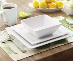 BHG Square Dinnerware brings an updated touch of style to your table in classic white porcelain; available at your local Walmart.