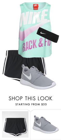 """""""Track and field"""" by haileyvontz ❤ liked on Polyvore featuring adidas and NIKE"""