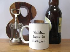 Shhh... beer in disguise mug cup. Unusual gift for him. Gift for Dad Husband Male. Gift for couple. Funny Christmas gift present. Funny mug