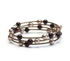 Chocolate Memory Wire Bracelet with Brown Glass Pearls and Antique Brass Curved Tube Beads - Handmade Jewelry