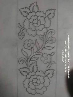 Border Embroidery Designs, Hand Embroidery Patterns, Ribbon Embroidery, Floral Embroidery, Embroidery Stitches, Shirt Embroidery, Bordado Jacobean, Bordado Popular, Mexican Embroidery