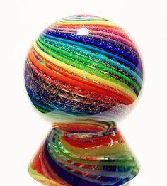 "EDDIE SEESE ART GLASS MARBLES 1-3/8"" RAINBOW DICHROIC MARBLE & STAND | eBay"