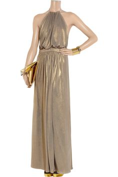 Tibi Metallic stretch-jersey maxi dress