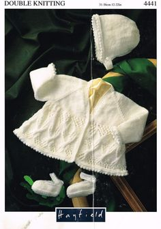 Hayfield 4441 baby matinee coat and bonnet set by Ellisadine, £1.00