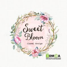 watercolor flower logo with frame premade by stylemesweetdesign