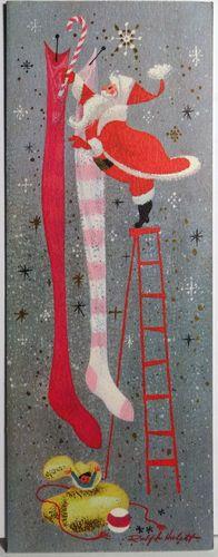 1960s Ralph Hulett Santa on A Ladder Vintage Christmas Card