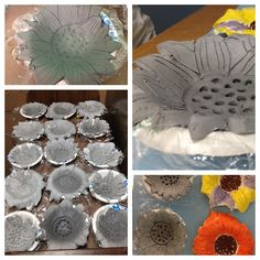 Kids Art: For Your Viewing Pleasure: Van Gogh inspired sunflower bowls. Clay Projects For Kids, Kids Clay, Sculpture Projects, Ceramics Projects, Art Lessons Elementary, Art Classroom, Art Plastique, Vincent Van Gogh, Teaching Art