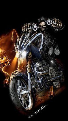 WALLPAPER - Gothic, skulls, death, fantasy, erotic and animals: death Motorcycle Art, Bike Art, Dark Fantasy Art, Dark Art, Los Primates, Skull Rose Tattoos, Grim Reaper Art, Harley Davidson Wallpaper, Ghost Rider Marvel