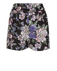 Black Pattern (Black) Petite Black and White Floral High Waisted Shorts | 316095109 | New Look