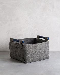 Soft Felt Storage Basket with Navy Colored Wood Handles, Felt Bin,  SB-03