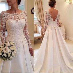 Fanty Jewelry Neck Long Sleeves Lace Court Train Wedding Dress