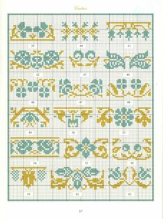 Borders in cross stitch 28 Cross Stitch Boarders, Cross Stitch Samplers, Cross Stitch Flowers, Cross Stitch Charts, Cross Stitching, Cross Stitch Embroidery, Cross Stitch Patterns, Seed Bead Patterns, Beading Patterns