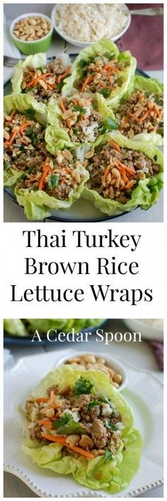 Thai Turkey Brown Rice Lettuce Wraps mix your favorite Asian flavors into a crisp, healthy lettuce wrap. Ground turkey is simmered in lime juice, ginger, soy sauce and red chili garlic sauce and mixed with brown rice. Top these with fresh cilantro, matchstick carrots and crunchy peanuts and you have a healthy meal. // A Cedar Spoon