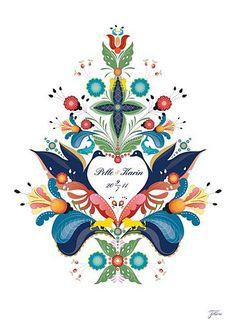modern take by Caroline Tinterova: Kurbits for wedding—painting something simi… - Tatuering Scandinavian Wedding, Swedish Wedding, Scandinavian Folk Art, Wedding Painting, Creation Art, Folk Embroidery, Thinking Day, Tole Painting, Painting Flowers