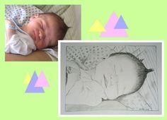 Das Geschenk zu Geburt, Taufe oder für frischgebackene Eltern/Großeltern: 'Frischlingsportraits' vom Babyfoto handgezeichnet - Papierarbeiten von wandklex   Zeichnung nach Fotovorlage / drawings from photographs