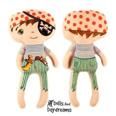 Pirate Doll for my Son using Crayola Fabric Markers Fabric Doll Pattern, Fabric Dolls, Pdf Sewing Patterns, Doll Patterns, Plush Dolls, Doll Toys, The Rock, Pirate Boy, Dolls And Daydreams