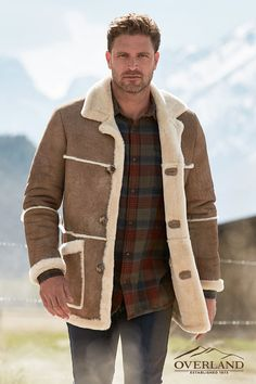 Overland has been at the forefront of sheepskin for 45 years. Discover our tried-and-true coat designs and enjoy comfort, durability, and unrivaled warmth like no other with exclusive styles. Mens Shearling Jacket, Shearling Coat, Leather Jacket, Sharp Dressed Man, Well Dressed, Sheepskin Coat, Sports Uniforms, Nice Dresses, Winter Fashion