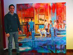 """""""Shopping"""" por andorra, Acrílico sobre tela. 182 x 182 cm."""