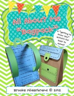 "***Mrs. Ross***  All About Me Paper ""Bagpack!"" {A Back to School Craftivity}"