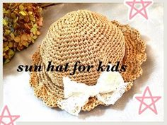 Sun Hat☆かぎ針編みで編む春夏用の帽子☆(2歳前後のお子様向け)crochet☆鉤針入門 - YouTube Kids Az, Sombrero A Crochet, Halloween Bunting, Knit Crochet, Crochet Hats, Yarn Crafts, Sun Hats, Baby Hats, Baby Items