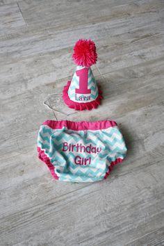 Aqua Blue and Hot PInk Chevron Birthday Girl Set on Etsy, $27.50